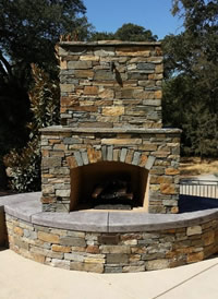 Custom Fireplace/Fire #028 by Wells Pools